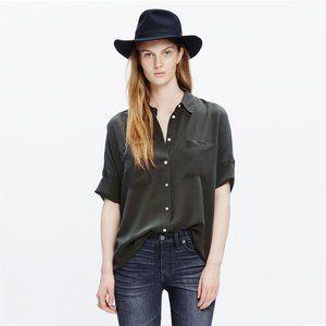Madewell Silk Courier Shirt Black Oversized #4672